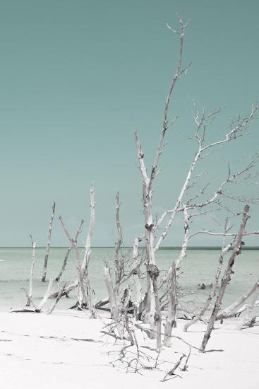 Cuba Fuerte Collection - Wild White Sand Beach III - Pastel Coral Green-Philippe Hugonnard-Photographic Print
