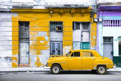 Cuba Fuerte Collection - Yellow Vintage American Car in Havana-Philippe Hugonnard-Photographic Print
