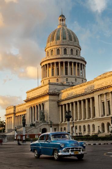 Cuba, Havana, Capitol and Classic Car in Historic Old Havana District-John and Lisa Merrill-Photographic Print