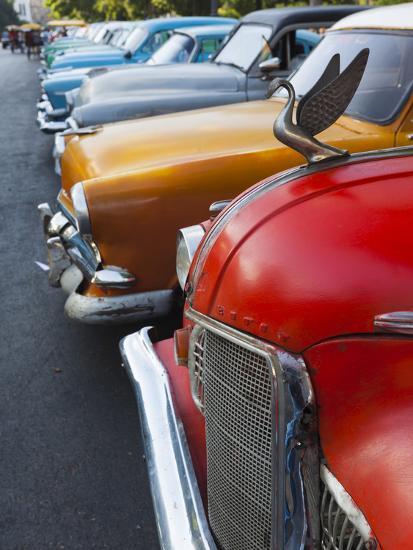 Cuba, Havana, Central Havana, Parque De La Fraternidad, Old 1950s-Era US Cars-Walter Bibikow-Photographic Print