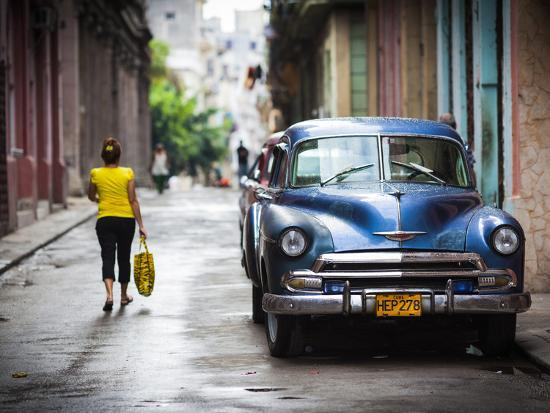 Cuba, Havana, Havana Vieja View of Old Havana Street with 1950s-Era US Car-Walter Bibikow-Photographic Print