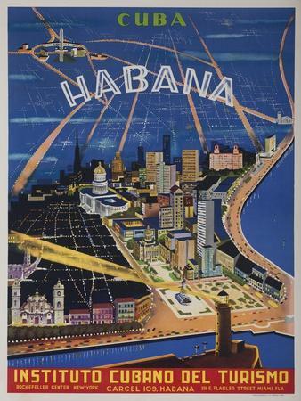 Cuba, Havana, Instituto Cubano Del Turismo, Travel Poster--Giclee Print