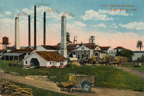 Cuba: Ingenio moliendo. Sugar Mill at work, c1900-Unknown-Giclee Print