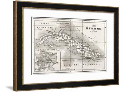 Cuba Old Map With Havana Insert Plan-marzolino-Framed Art Print