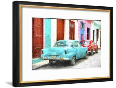 Cuba Painting - Blue and Red-Philippe Hugonnard-Framed Art Print