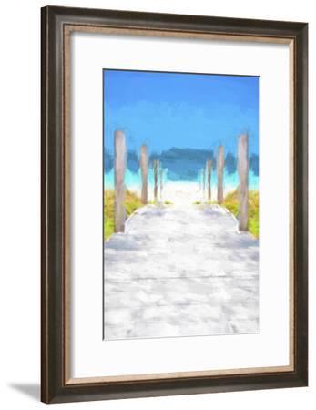 Cuba Painting - Boardwalk on the Beach-Philippe Hugonnard-Framed Art Print