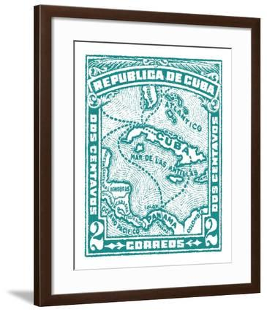 Cuba Stamp XIII Bright-Wild Apple Portfolio-Framed Art Print