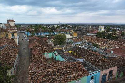 Cuba, Trinidad. Storm Clouds Above the Rooftops of Town-Brenda Tharp-Photographic Print