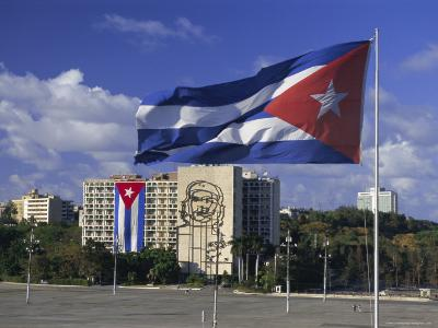 Cuban Flag Flying Outside the Ministerio Del Interior, Cuba, West Indies-Gavin Hellier-Photographic Print