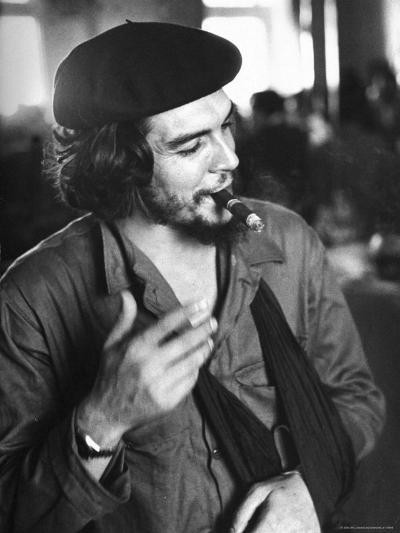 "Cuban Rebel Ernesto ""Che"" Guevara, Left Arm in a Sling, Talking with Unseen Person-Joe Scherschel-Premium Photographic Print"