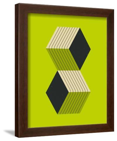 Cubes 2-Jazzberry Blue-Framed Art Print