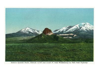 Cuchara, Colorado, View of the Spanish Peaks from the Highway-Lantern Press-Art Print