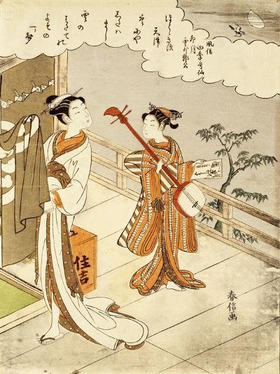 Cuckoo Flying over April Clouds-Suzuki Harunobu-Giclee Print