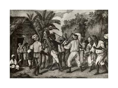 Cudgeling Match Between English and French Negroes on Island of Dominica--Giclee Print
