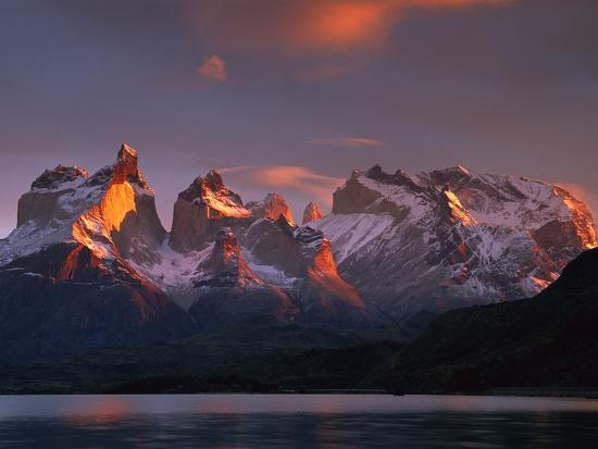 Cuernos Del Paine at Dawn and Lago Pehoe, Torres Del Paine National Park, Patagonia, Chile-Colin Monteath/Minden Pictures-Photographic Print