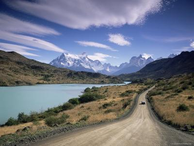 Cuernos Del Paine Rising up Above Rio Paine, Torres Del Paine National Park, Patagonia, Chile-Gavin Hellier-Photographic Print