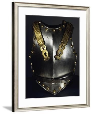 Cuirassier Bust in Steel, Brass and Leather, 1804 Model, France--Framed Giclee Print