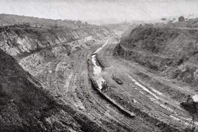 Culebra Cut from West Bank Showing Shovels at Work--Photographic Print