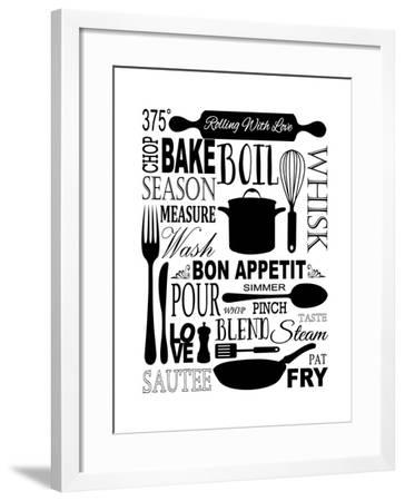 Culinary Love 1 (black & white)-Leslie Fuqua-Framed Art Print