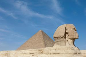 The Great Sphinx of Giza and the Pyramid of Khufu, Giza, Egypt by Cultura Travel/Philip Lee Harvey