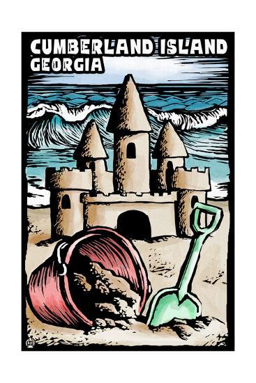 Cumberland Island, Georgia - Sandcastle Scratchboard-Lantern Press-Art Print