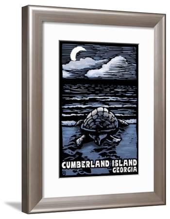 Cumberland Island, Georgia - Sea Turtle on Beach - Scratchboard-Lantern Press-Framed Art Print