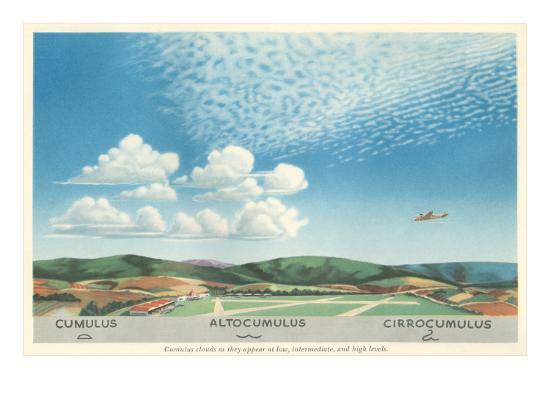 Cumulus, Altocumulus and Cirrocumulus Clouds--Art Print