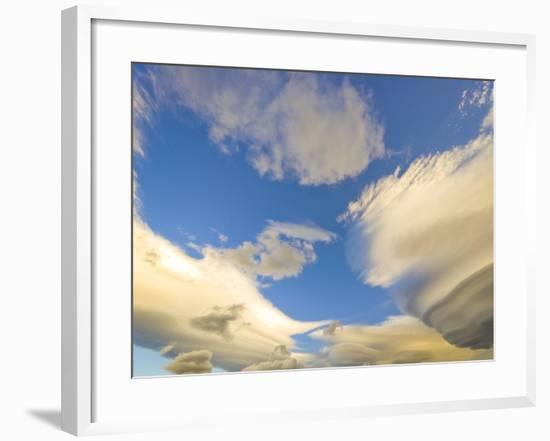 Cumulus and Lenticular Clouds at Sunrise-John Eastcott & Yva Momatiuk-Framed Photographic Print
