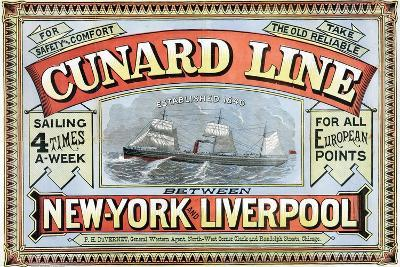 Cunard Line Between New York and Liverpool Poster-George H. Fergus-Giclee Print