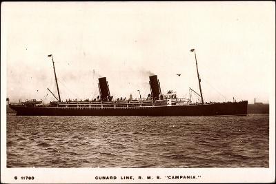 Cunard Line, R.M.S. Campania, Dampfschiff in Fahrt--Giclee Print