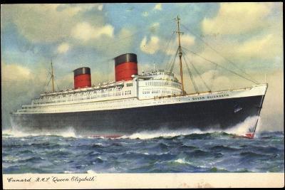 Cunard Line, R.M.S. Queen Elizabeth, Dampfschiff--Giclee Print