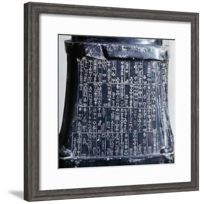 Cuneiform Writing on the Base of Headless Statue of Prince Gudea--Framed Giclee Print