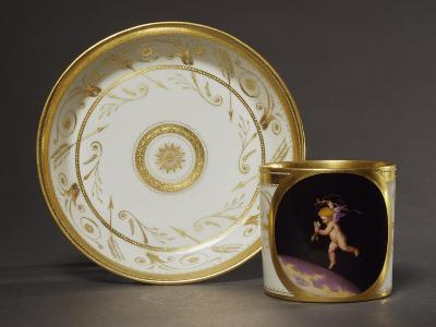 Cup and Plate Decorated with Plant Motifs and Image of Cupid-Anton Kothgasser-Giclee Print