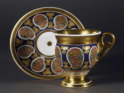 Cup and Saucer, 1820, Porcelain, Bohemia Manufacture, Czech Republic--Giclee Print