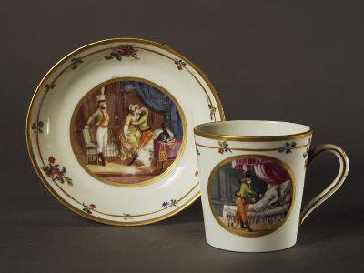 Cup and Saucer Decorated with Courtly Scenes in Austrian Setting--Giclee Print