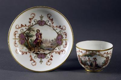 Cup and Saucer Decorated with Figures In, 1770-1780--Giclee Print