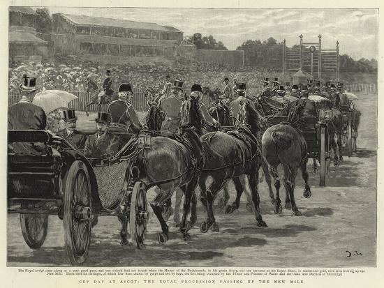 Cup Day at Ascot, the Royal Procession Passing Up the New Mile-John Charlton-Giclee Print