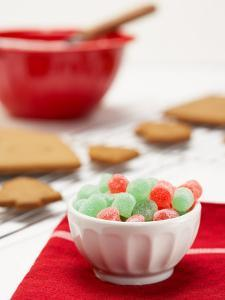 Cup of Colorful Gumdrops with Gingerbread and Icing