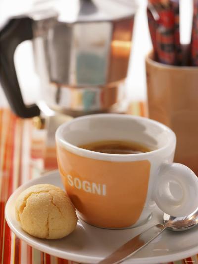 Cup of Espresso in Front of Espresso Machine--Photographic Print