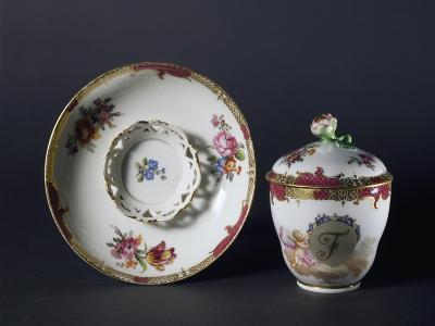Cup, Saucer and Lid with Floral Decorations, 1840-1850--Giclee Print
