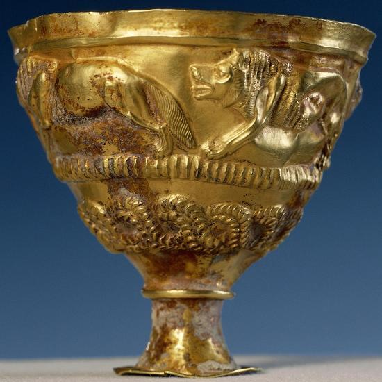 Cup with Four Gold Lions in Relief--Giclee Print