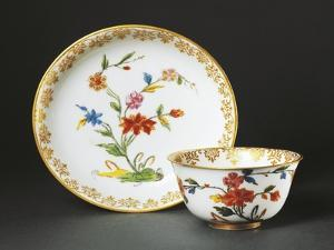 Cup Without Handle and Saucer with Blue Chinoiserie Decorations, 1725