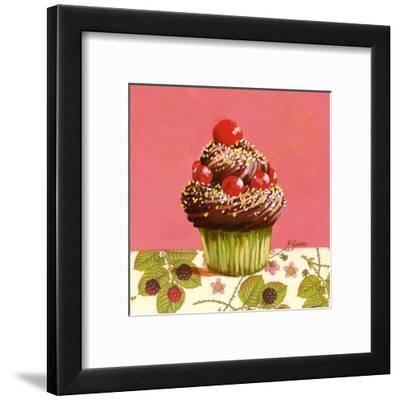 Cupcake Chocolat Cerises-Pascal Cessou-Framed Art Print
