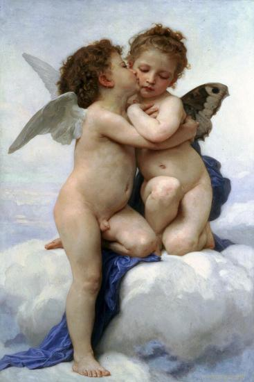 Cupid and Psyche as Children, (The First Kis), 1890-William-Adolphe Bouguereau-Giclee Print
