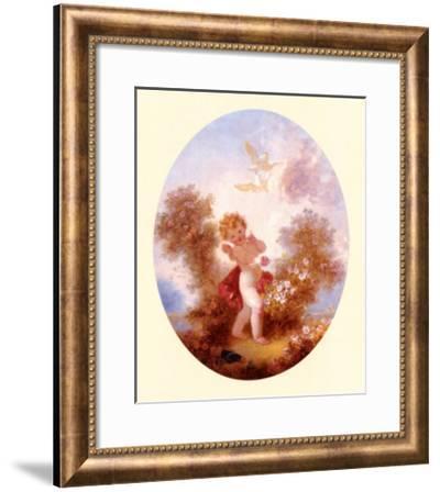 Cupid Between Roses-Jean-Honor? Fragonard-Framed Art Print