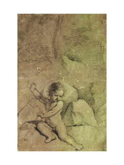 Cupid drawing an Arrow from a Quiver, in a Landscape--Giclee Print