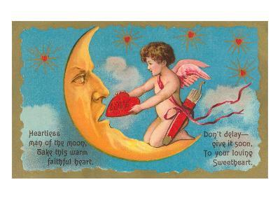 Cupid Feeding Heart to Moon--Art Print