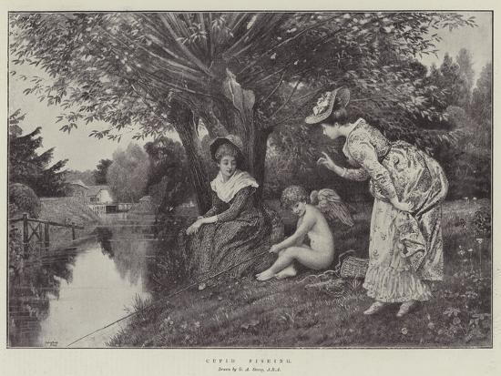 Cupid Fishing-George Adolphus Storey-Giclee Print