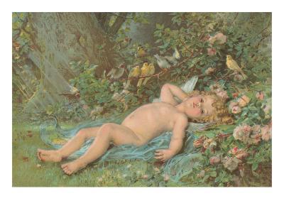Cupid Lying on Grass--Art Print