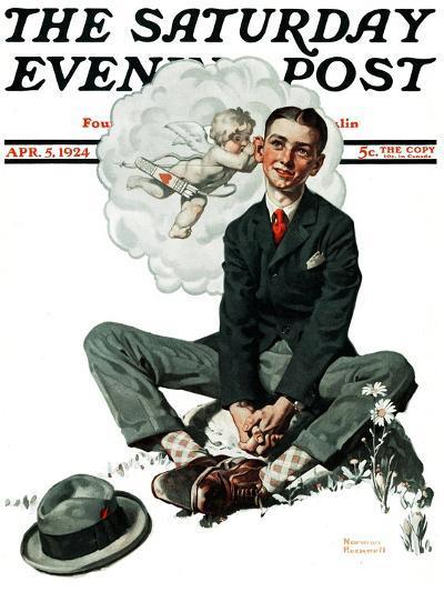 """""""Cupid's Visit"""" Saturday Evening Post Cover, April 5,1924-Norman Rockwell-Giclee Print"""